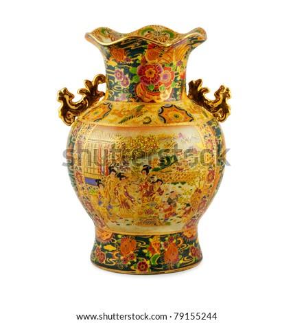 China vase gold on the white background - stock photo