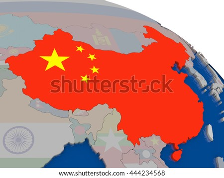 China with flag highlighted on model of globe. 3D illustration - stock photo