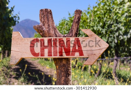 China wooden sign with winery background - stock photo