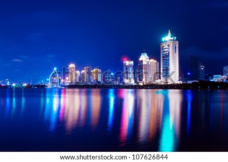 China Xiamen night view from Gulangyu island - stock photo