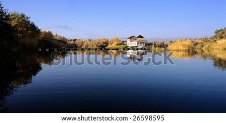 China/xinjiang hiking: Fall colors of Kezijiaer river - stock photo