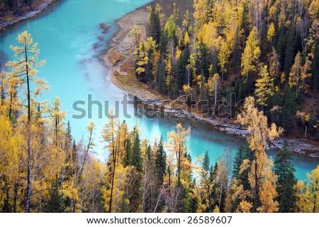 China/xinjiang hiking: Fall colors of Moon bay in kanas - stock photo
