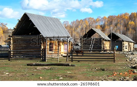 China/xinjiang hiking: Log carbin in Hemu village