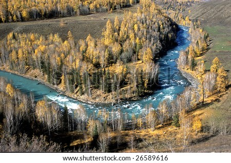China/xinjiang hiking: the turning of kanas river