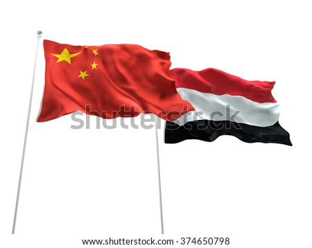 China & Yemen Flags are waving on the isolated white background