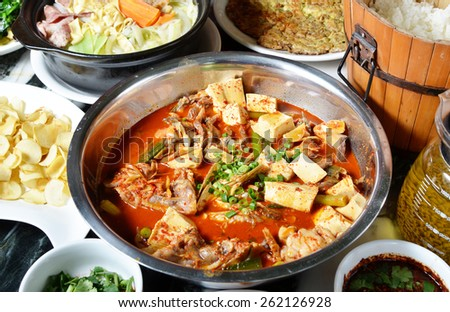 China Yunnan traditional cuisine - hot and sour fish      - stock photo