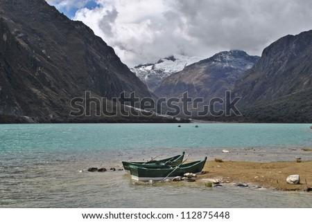Chinancocha lake in district Llanganuco, Peru. - stock photo