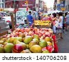 Chinatown fruit market in New York City - stock photo