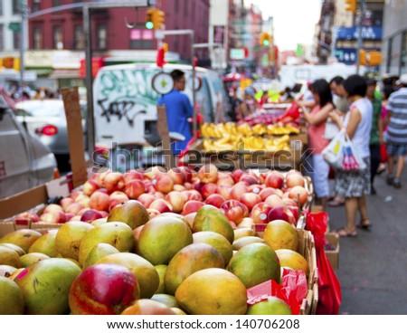Chinatown fruit market in New York City - stock photo