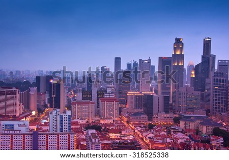 CHINATOWN, SINGAPORE - AUGUST 23: Singapore Skyline And Modern Skyscrapers At A Business Street On August 23, 2015 In Chinatown, Singapore
