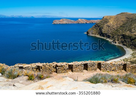 Chincana Inca ruin on Isla del Sol, Lake Titicaca, Bolivia - stock photo