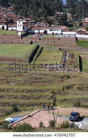 Chinchero Peru - May 18 : Buildings in Chinchero with traditional Inca terraces on the hillside. May 18 2016, Chinchero Peru.