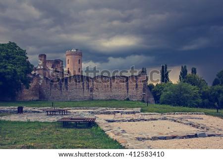 Chindiei Tower and fortification walls in Targoviste city , Dambovita county, Romania - stock photo
