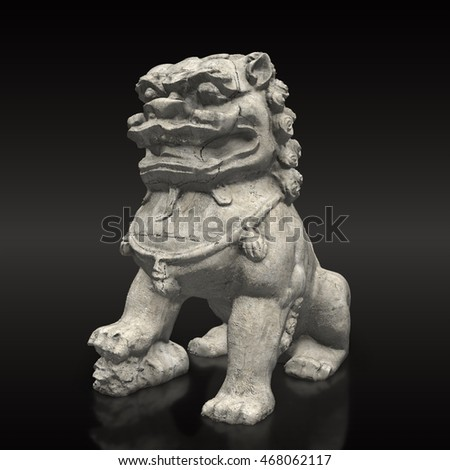 chines fu dog statue 3d render
