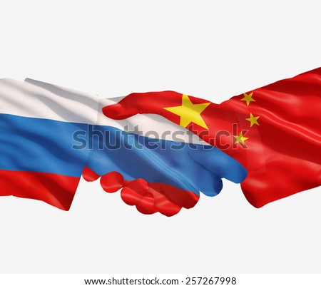 Chinese an Russian flags with a handshake on white  background. - stock photo
