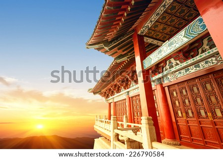 Chinese ancient architecture, ancient religious  - stock photo