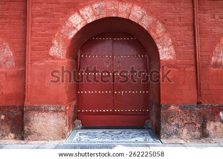Chinese ancient gate - stock photo