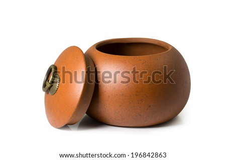 Chinese ancient pot isolated on white