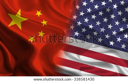 Chinese and American flags joining together concept - stock photo