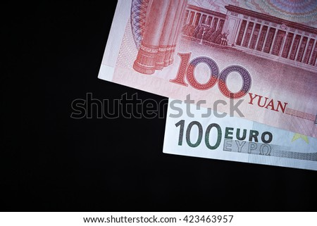 Chinese and Euro banknotes