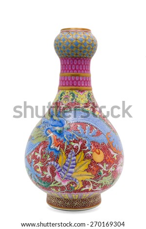 Chinese antique Dragon vase, Museum quality, isolate on white background - stock photo