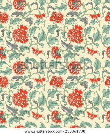 Chinese antique hand drawn elegance oriental seamless pattern with orange peonies flowers on beige background in vintage style - stock photo
