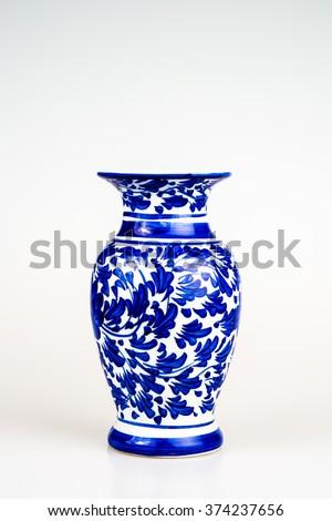 chinese antique vase on plain back stock photo royalty free