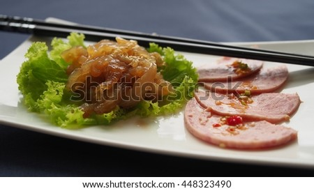 Chinese appetizer of COLD MARINATED JELLYFISH SALAD and Stuffed pork