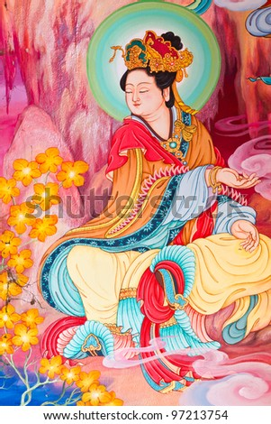 Chinese art on the walls of the temple. Nakhon Pathom Province, Thailand.