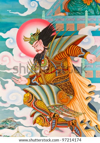 Chinese art on the walls of the temple. Nakhon Pathom Province, Thailand. - stock photo