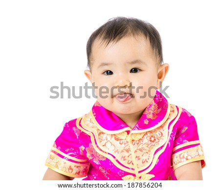 Chinese baby girl making funny face