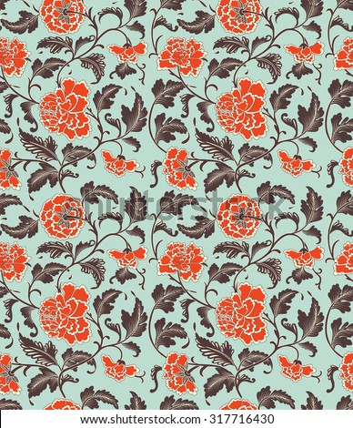 Chinese background with flowers. Seamless pattern. - stock photo