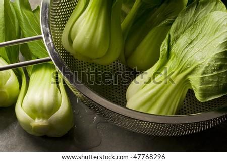 Chinese bak choy washed and ready - stock photo