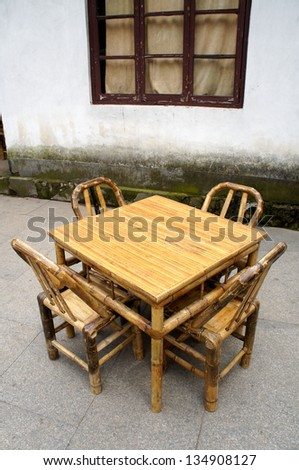 Chinese Bamboo Furniture Set In A Temple