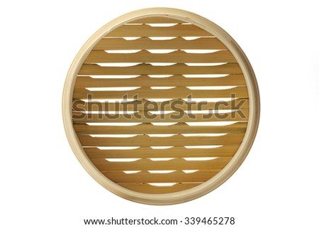 Chinese bamboo steamer top view. Isolated on white background. - stock photo