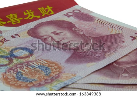 Chinese banknotes and red envelope