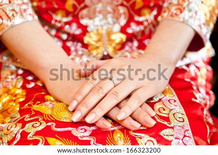 Chinese bride hand with ring