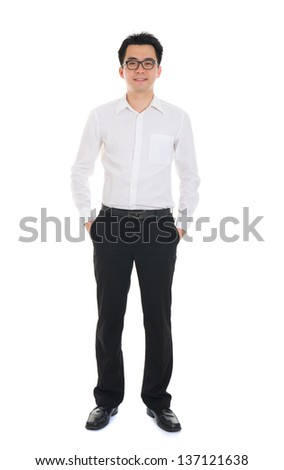 Chinese business man of asian descendant , full length portrait isolated on white background - stock photo