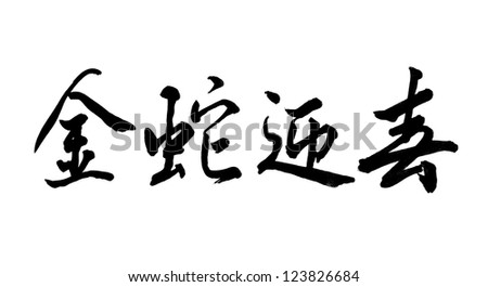 Chinese Calligraphy 2013 Year of the snake design,words means Everything is good luck in snake year - stock photo