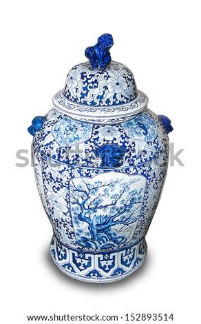 Chinese ceramic vases isolated on white background - stock photo