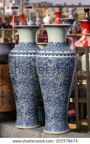 Chinese ceramic vases painted in vibrant colors - stock photo