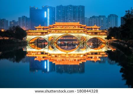 chinese chengdu anshun bridge in nightfall  - stock photo