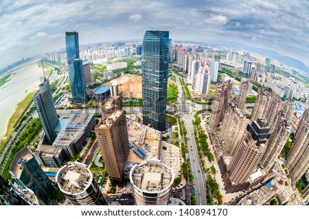 Chinese city overlooking fisheye - stock photo