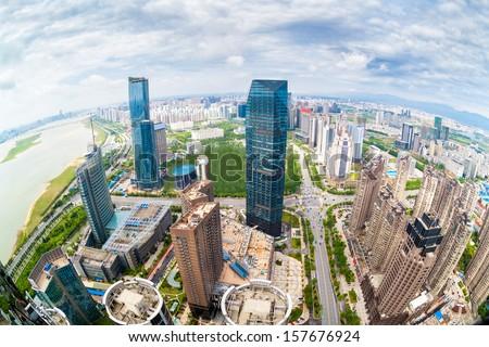 Chinese city overlooking fisheye - stock photo
