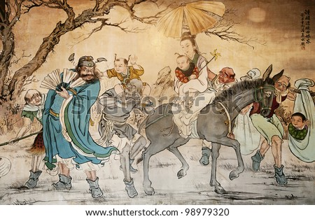 Chinese classic wall drawing - stock photo