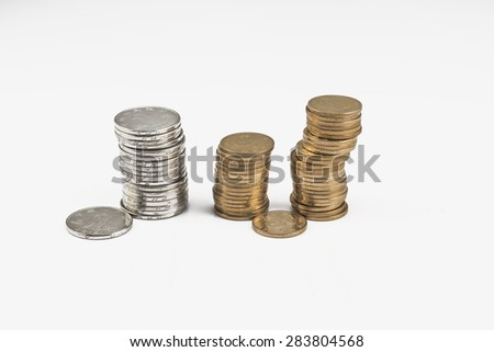 Chinese coins on the white background