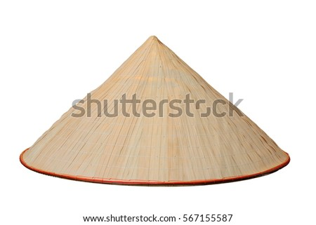 chinese conical trellis handmade hat isolated over white background