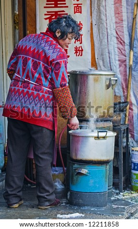 chinese cook  in shanghai china