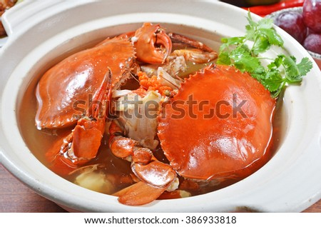 Chinese cuisine braised crab and chinese vermicelli
