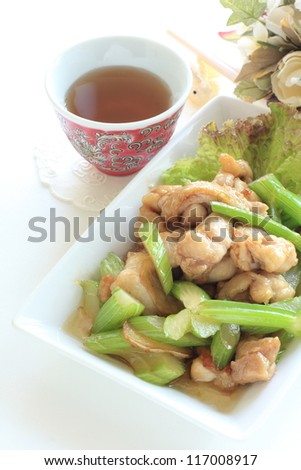 chinese cuisine, celery and chicken stir fried with hot tea